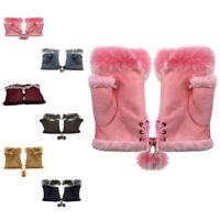 Women Ladies Winter Fur Fingerless Gloves Mittens Soft Warm Fur Lined UK