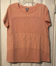 Chico's Blush Peach Embroidered Panel Knit Top Size 1(8/10) NWT