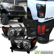 Black 2007-2013 Toyota Tundra Headlights + Led Tail Lamp Lights Left+Right 07-13
