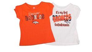 Denver Broncos Official NFL Girls Infant Toddler Size 2 Shirt Combo Set New
