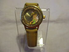 "DISNEY TINKERBELL WATCH WR Clear Rhinestones on a 8 1/4"" Beige Band New Battery!"