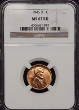 1945-D LINCOLN WHEAT EARS CENT NGC MS 67 RED