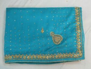 Bollywood Hand Crafted Turquoise Raw Silk Saree Indian Sari Bridal Party Dress