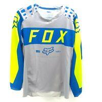 Fox Racing 180 Jersey Mens Size L Large Grey Blue High Viz Green