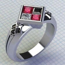 2.80Ct Harley Quinn Princess Cut Engagement Ring In Solid 14 Kt White Gold.
