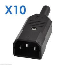 10 X IEC Male Connectors Mains Power Plug Disco Lights Shrouded Rewireable C14