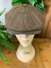 CHRISTY'S OF LONDON OLIVE GREEN TWEED BAKER NEWSBOY HAT FLAT CAP S 55CM BNWT