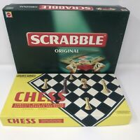 Vintage 1970's Spears Game CHESS & 90s Original SCRABBLE Complete Family Fun VGC