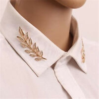One Pair Leaves Brooch Pin Collar Scarf Golden Plated Brooch Pin Jewelry 2PCs ♫