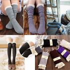 Girls Crochet Lace Cotton Knit Footed Leg Boot Cuffs Socks Knee High Stockings