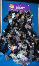 Halloween Holographic Silver Ghosts Black Tinsel Accent Garland 15 Foot NEW