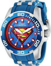 Invicta DC COMICS SUPERMAN Silver Stainless Steel Blue Silicone 50mm Watch 32479
