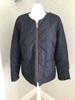 Joules Diamond Quilted Rain Jacket Uk Size 16 Navy Blue Fleece Lined Zip Up