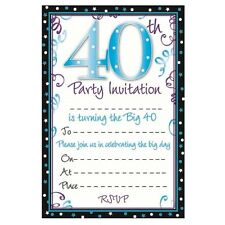 20 Special Birthday Party Invitation Sheets Choice of Designs With Envelopes 40th Design a
