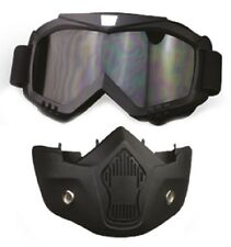 1/2 3/4 Open Face Motorcycle Helmet Mask Goggles Combo - Cafe Racer Retro