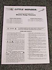 MANTIS LITTLE WONDER ELECTRIC HEDGE TRIMMER PARTS MANUAL 1600SE 2400SE 3000SE
