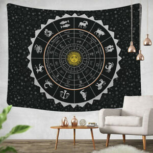 Black Zodiac Horoscope Celestial Tapestry Indian Astrology Hippie Wall Hanging