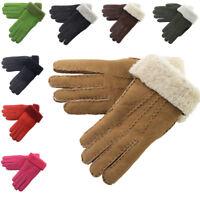Ladies Womens Soft Genuine Sheepskin Panel Mittens Gloves Black Brown Burgundy