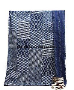 Indian Ethnic Decor Kantha Patchwork Indigo Quilt Cotton Bedspread Queen Size
