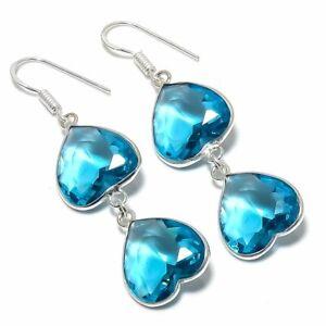 """Swiss Blue Topaz Handmade Ethnic 925  Silver Jewelry Earring 2.21 """""""