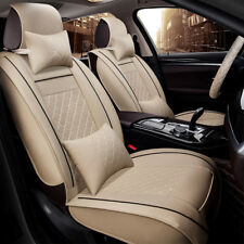2-Seats Car Front Seat Covers Beige PU Leather BLK Stitch Universal w/ 4 Pillows