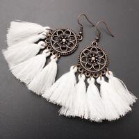 Boho Charm Women Earrings Bohemia Long Tassel Fringe Drop Dangle Ear Stud