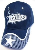 Dallas City Blue Hat Cap Script WAVE Visor Embroidered Signature Cowboys Star