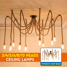 E27Hemp Rope Ceiling Lamps Light Industrial Pendant Ceiling Fixtures Bulbs Decor