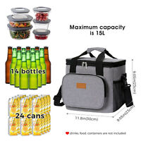Large 15L Insulated Cooler Ice Bag Box Holder Picnic Camping Food Chilling Can