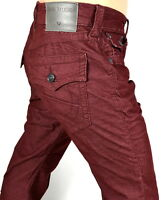 True Religion Men's Ricky Straight Burgundy Corduroy Brand Jeans - MDB859N29R