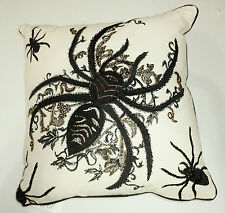 "Large Black Detailed Spiders Halloween Pillow Unbleached Muslin 17"" X 17"" Beaded"