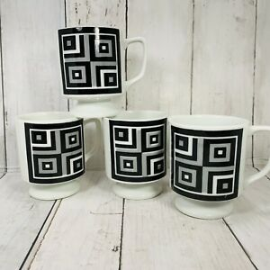 Stackable Vintage Coffee Mugs 70s Retro Geometric Pedestal BLACK GRAY Mod