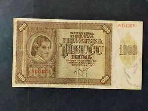 Croatie billet 1000 kuna 1941