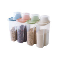 4 PCS Large Capacity Airtight Dry Food Container Cereal Storage Box Kitchen 1.9L