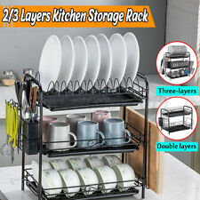 2/3 Layer Dish Cup Drying Rack Shelf Drainer Dryer Tray Cutlery Holder Organizer