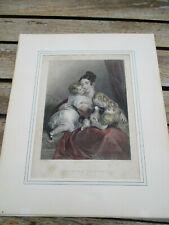 Gravure anglaise ancienne (XIXè) coloriée à la main : mère et ses enfants