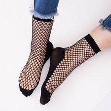 Women Female Lady Lace Ankle High Fishnet Mesh Net Solid Color Short Crew Socks