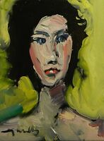 JOSE TRUJILLO ORIGINAL Oil Painting Modern Impressionist PORTRAIT WOMAN ABSTRACT