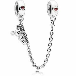 Genuine Pandora Disney Climbing Mickey Safety Chain Charm ALE 797173CZR