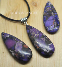 Purple Sea Sediment Jasper & Pyrite 5cm Drop Pendant Necklace Reiki Ladies Gift