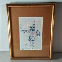 """Eagle Kachina"" Signed Framed Batik Art By Dick And Trish Martin w/COA"