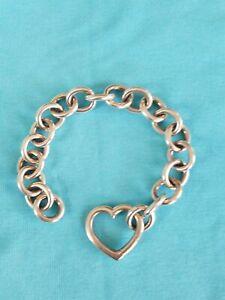 """TIFFANY & CO Open Heart Clasp Link Bracelet Sterling Silver 7.5"""" Long 47.2 grams"""