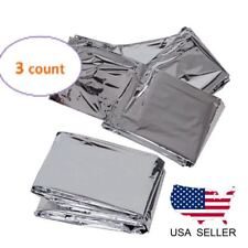 3 Pack Emergency Blankets Solar Rescue Thermal Insulating Mylar Heat Survival