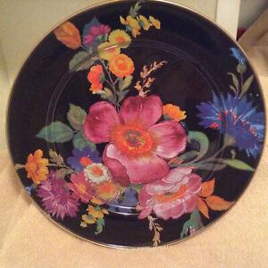 """NEW  MacKenzie-Childs  BLACK Flower Market 12"""" enamel Charger Lg Dinner Plate"""
