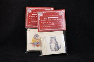 Two 1985 Packages of 12 Kitty Cucumber Easter Gift/Note Cards By Shackman. 50568