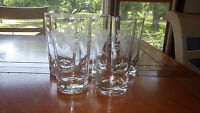 Vintage Wheel Cut Tumblers Glasses FLoral Design Weighted Bottom 5 11oz glasses
