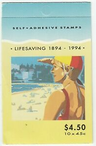 1994 STAMP BOOKLET 'CENTENARY OF LIFE STAVING IN AUSTRALIA' 10 x 45c - MNH