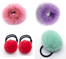 maJJical Elastic Faux Fur Hair Scrunchies Ponytail Hair Ties Pom Pom Hair Bands