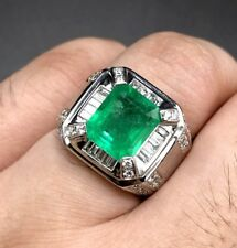 COLOMBIAN! 5.28TCW Emerald VS Diamonds 18k solid white gold ring mens gentleman