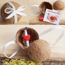 Red Heart Detail & NUTS ABOUT YOU Note in Walnut Shell Box, Valentine's Day Gift